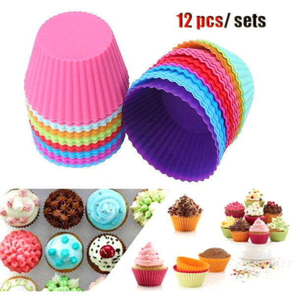 molde silicone 12 Pieces/Set Colorful Cake Silicone Mould Muffin stencil Baking Molds Jelly Mold Silicon Pan Cake Tools bakewar
