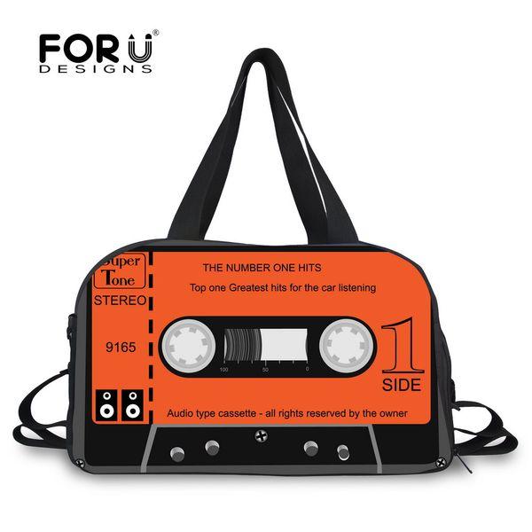 Large Messenger Bag Black Travel Crossbody Bags for Men Lady Tape Recorder Print