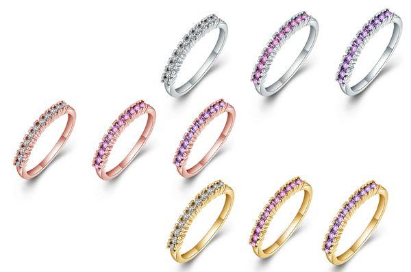Joyas de moda 2MM Fila única Taladro de cristal aleación pulida anillo liso el mejor regalo para pareja anillos de compromiso con anillos de circón checo