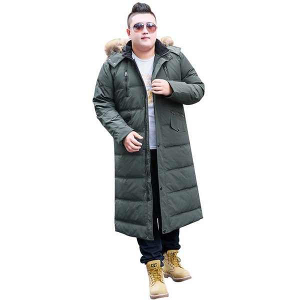 Men's Winter Fashion Coat Hooded Large Fur Collar Warm Jacket Men's Extra Long Size M-14XL Over the Knee Jacket 190kg Wear
