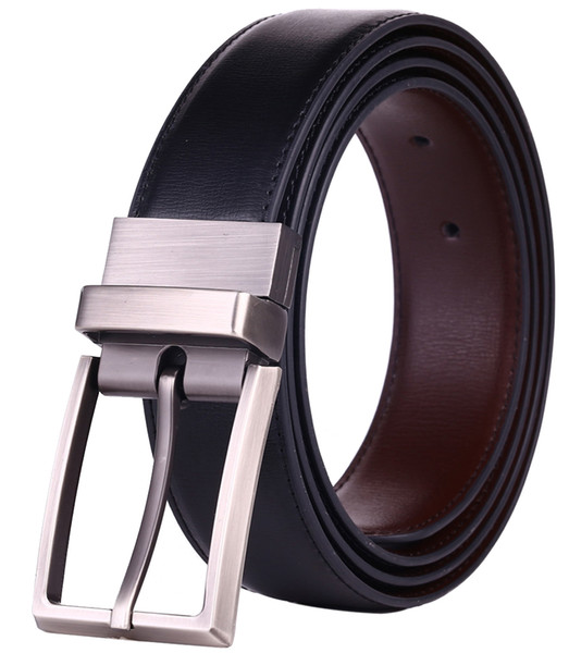 Men's Reversible Dress Leather Belt with Rotate Prong Buckle Two in One Belts Black/Brown & Black/Blue Size 28-54 Waist Innovation Strap