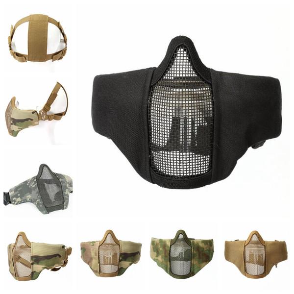 En plein air CS Tactique Capuche Cool Casque Masque Demi Visage En Acier Net Mesh Masque Chasse De Protection En Plein Air Équipement De Sport EEA511