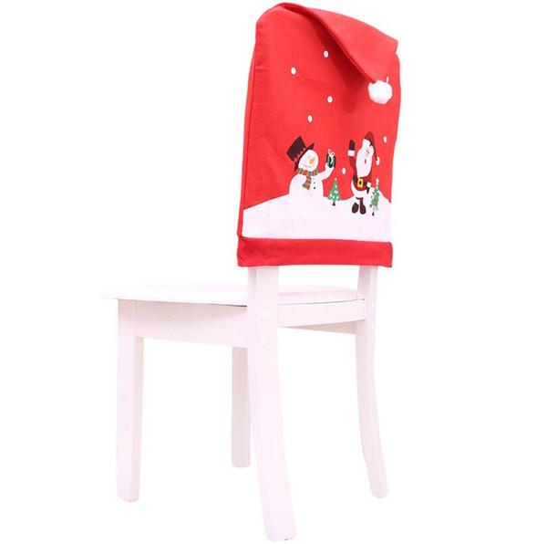 Nouveau 1 Pcs De Noël Chaise Couverture Arrière Décoration Chaises Chapeau Décorations pour La Maison Dîner Table Xmas Chaise Couvre