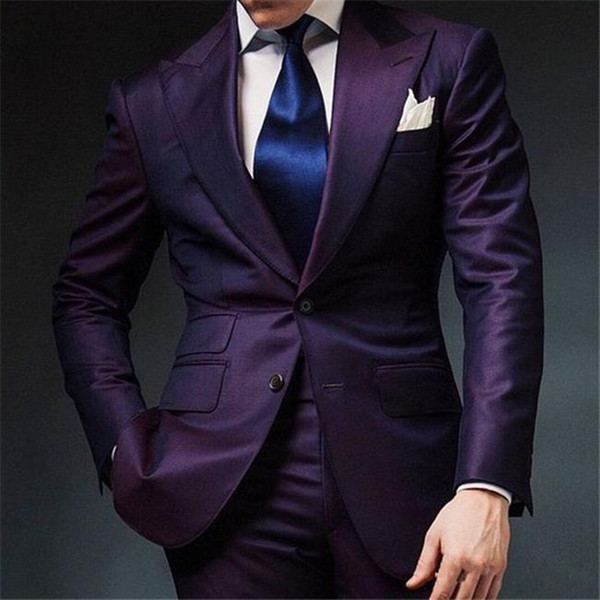 Two piece purple men wedding uit 2018 groom tuxedo peaked lapel cu tom made groom men uit men prom party uit jacket pant