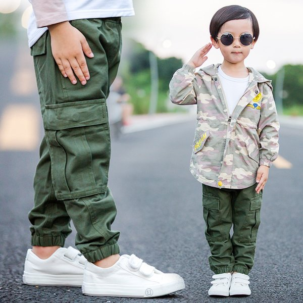Brand children boy cargo pants spring and autumn baby boy leisure cotton army green trousers pocket kids trousers 1-6 years
