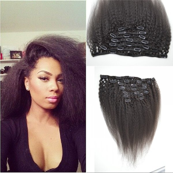 African American Virgin Indian Hair Clips Kinky Straight Natural Human Hair Clip in Exensions 8-24 inch FDshine