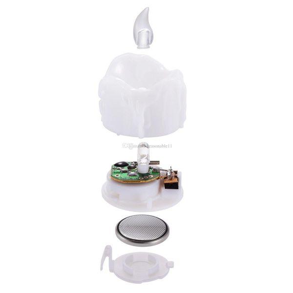 Flameless Yellow Flicker Tear Wax Drop Light Candle Mini Battery Operated Tea Lights Realistic Led Tea