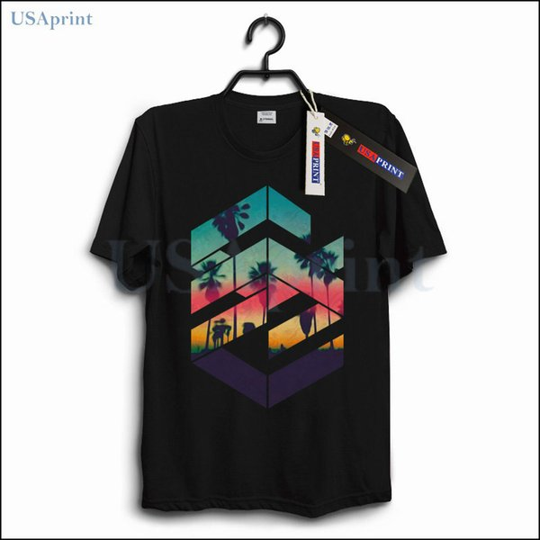 USAprint Summer Fashion Trend Geometric T Shirt Uomo Natura Tramonto Vintage Retro Tees Casual Homme Tshirt Abbigliamento maschile Elegante