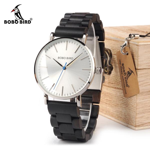BOBO BIRD Watch Hombres relogio masculino Relojes de banda de madera Hombre Simplificar Relojes de cuarzo bayan kol saati OEM Envío de la gota S914
