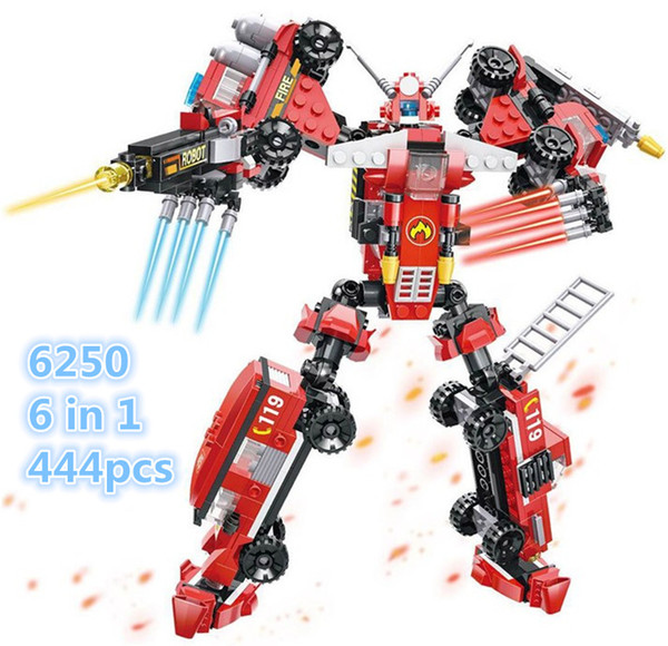 6pcs/lot Hsanhe Rescue vehicle series 6 in 1 red robot building blocks Set Bricks DIY assembly Educational Mini Robot Toy #2650
