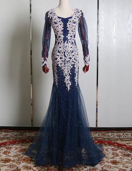 Maggieisamazing Wholesale jewel lace dress long sleeve Major Beading Column mermaid Evening Dresses prom dress WNS00012