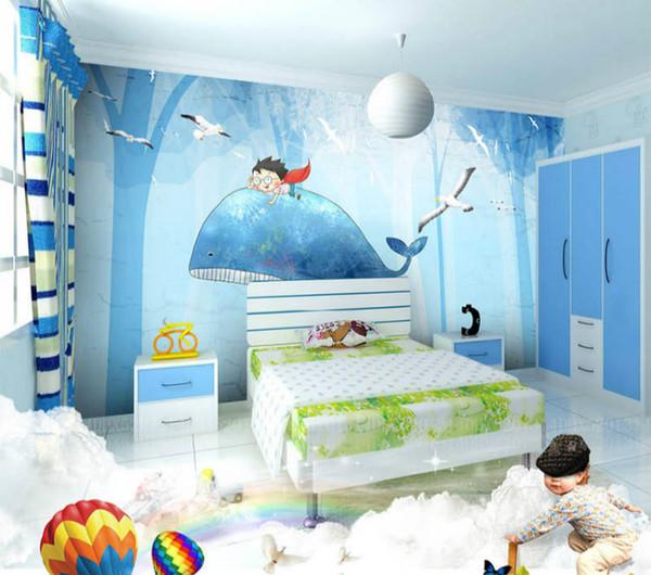 Нетканые Ткани 3D Обои Индивидуальный Дизайн для детской комнаты в 2 Цветах 3D Печатных Бесплатная Доставка