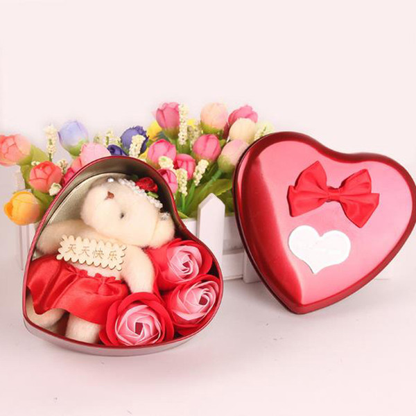 New Creative Rose Soap Flower Bear Doll Heart Shape Iron Box Romantic Valentine Day Gift Home Decoration Arts Crafts
