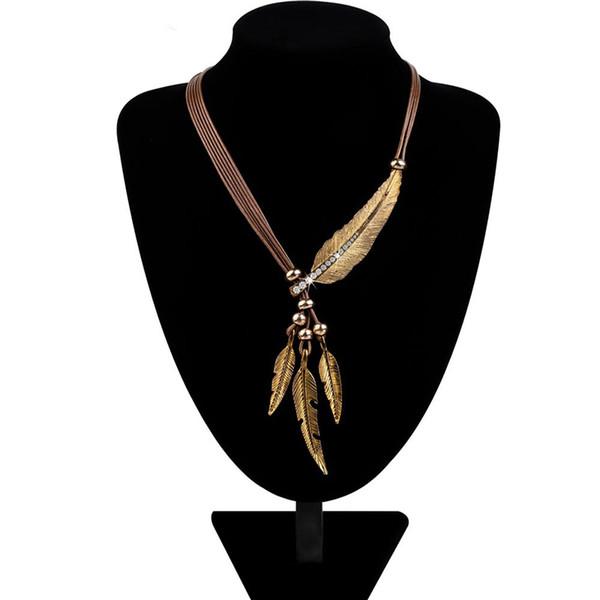 Halsketten-Legierungs-Feder-Statement-Halsketten-Anhänger-Weinlese-Seil-Ketten-Halsketten-Frauen-Zusätze Großhandelsschmucksachen geben Verschiffen frei