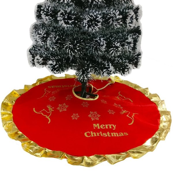 1Pcs Red Christmas Tree Skirts Carpet Party Ornaments New Christmas Decoration For Home Flannel Xmas Trees Skirt Aprons