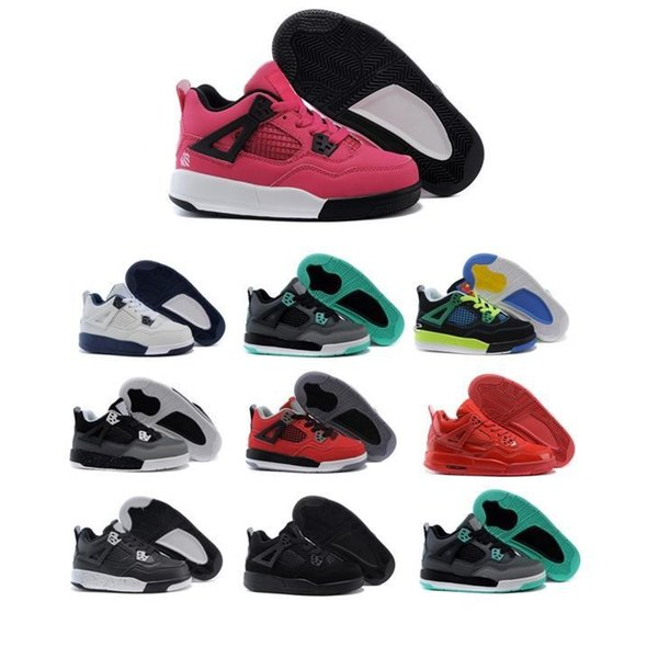 New Kids Basketball Shoes 4 Boys baby Sneakers red black white blue Children Sports IV 4s trainers 2017 wholesale box size 28-35