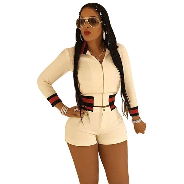 Two Piece Set Crop Top Shorts Pants Suits Women Full Female Sexy Slim Zipper Tops Tracksuit Sportswear Black White Outfit