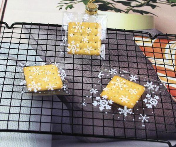 Christmas Snowflake Cookie Bag Plastic Self Adhesive Seal Packaging Bag DIY Candy Gift Bags Wedding Birthday Kid Gifts