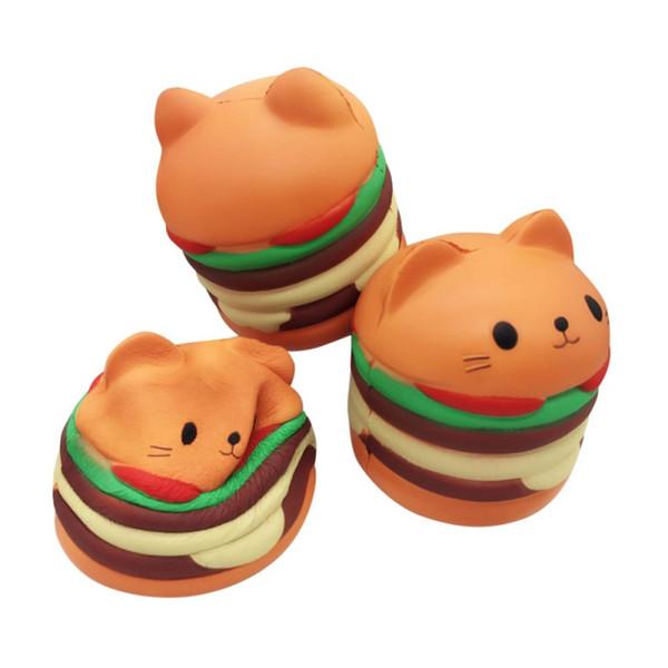 Kawaii Food Squishies Chat Hamburgers Crème Parfumée Slow Rising Squishies Charms Jouet Belle Jouet Soulagement Du Stress