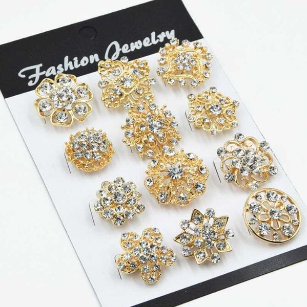 2018 12PCS Mixed Flower Crystal Silver Plated Alloy Brooches High Quality Fashion Wedding Cake Flower Pins Girls Pretty Collar Pins 107