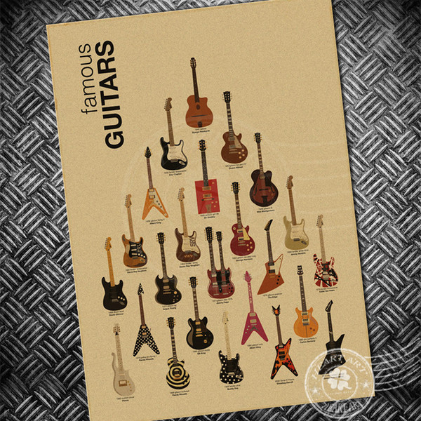 Guitar Music ROCK CHART Vintage poster retro painting cafe wall art sticker living room Home decoration bar paper print picture