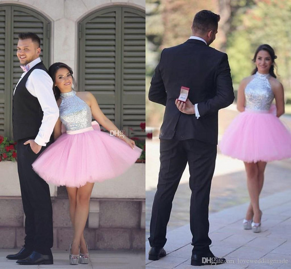 Pink Short Prom Dresses Homecoming Gowns Shiny Sequined Top Tulle Skirts Cocktail Party Dress High Neck Arabic Indian dresses party evening