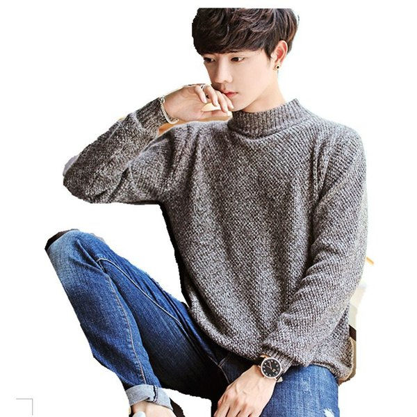 Men Sweaters 2018 Korean Style New Fashion Knitting Undershirts Half Turtle Long Sleeve Casual Knitwear Loose Knitted Pullovers