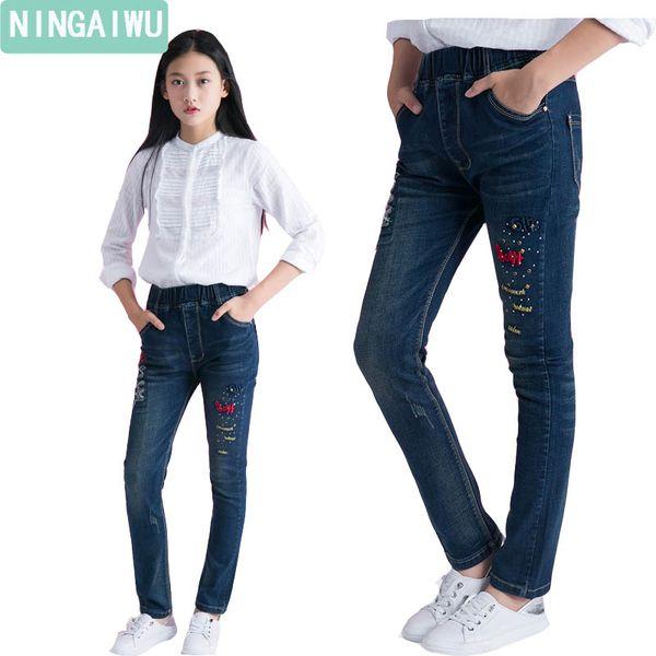Acheter Jeans Automne Filles Printemps Fille Pantalon 2017 Enfants Nouveau Skinny Denim Pantalon Pour 6 14 Ans Fille Vêtements Enfants Jeans Taille