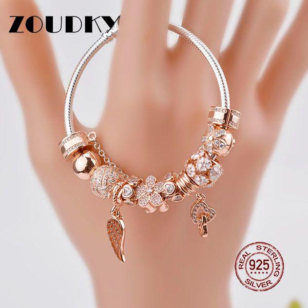 ZOUDKY Genuine 100% 925 Sterling Silver Bracelet For Set Women Rose golden birthday Gift charm Bead Jewelry DIY bangle