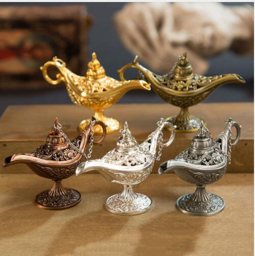 Decoração de casa Queimadores De Incenso Antigo Estilo Conto De Fadas Lâmpadas Mágicas Pote de Chá Lâmpada Genie Retro Vintage Toy Casa Ornamento KKA5829