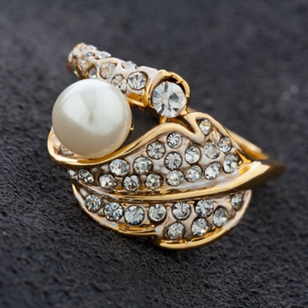 New arrival women fashion jewelry royal diamond alloy super glitter leaf natural pearl ring Love Valentine's day Christmas festival gift