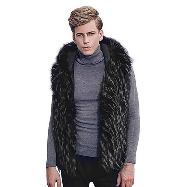 Plus Size Coats Men Faux Fur Vest Jacket Sleeveless Winter Body Warm Coat Hooded Waistcoat Gilet Outwear #1812 A#722