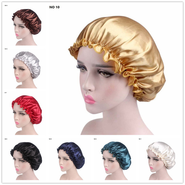 Women Headband 2018 Ladies Satin Solid Lace Cap Chemotherapy Hat Dome Hair Band Hair Accessories Sleepping hat Free Shipping