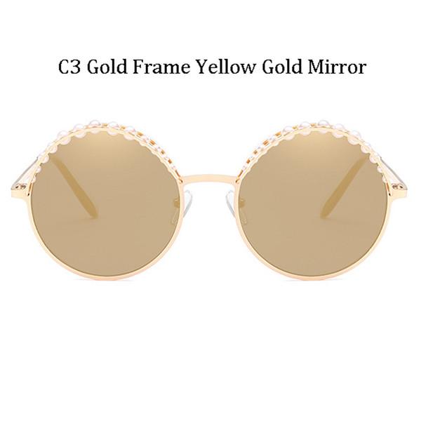 C3 Gold Frame Yellow Gold Mirror
