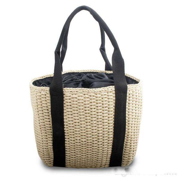 Bolsas de playa con cordón de estilo fresco remaches inferiores bolsos de hombro de dama bolsos tejidos de paja con bolsillos interiores múltiples