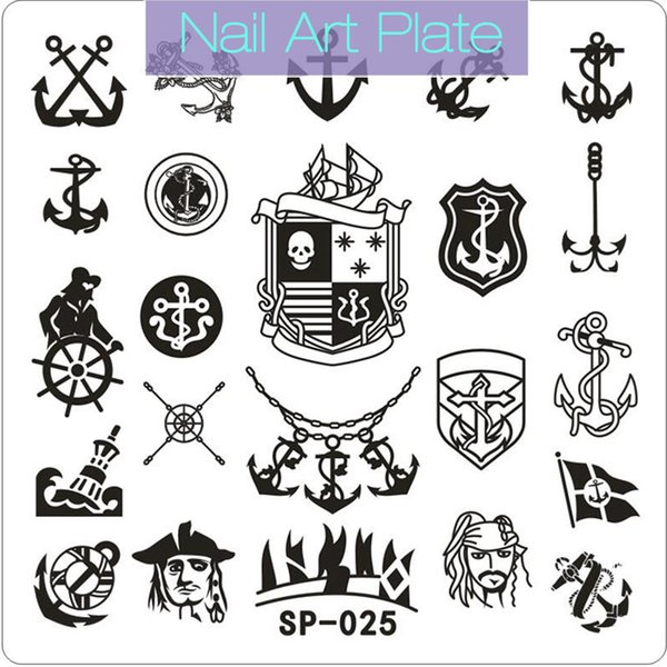 New Square Nail Art Stamp Plate 6*6 cm Stamping Plates Template Cartoon Pirate Skull Image Plate Stencil Manicure 2017 SP Tool