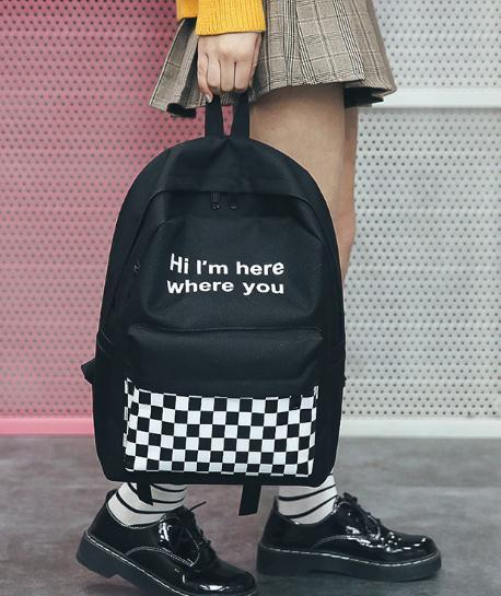 The explosion of 2018 new black and white case backpack female Korean fashion tide all-match canvas bags backpack