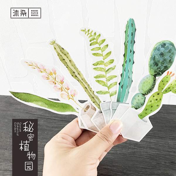 30 Hojas / lote Cute Green Potted Plants Paper Bookmark Lindo Diy Book Marker Page Holder Papelería coreana Oficina Material escolar
