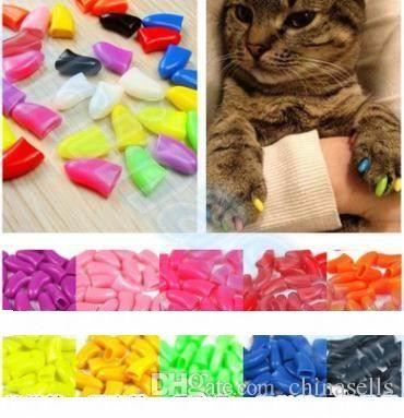 20pcs/lot Soft Pet Dog Cats Kitten Paw Claws Control Nail Caps Cover wraps catlike sets cat armor nail cap with glue multicolor