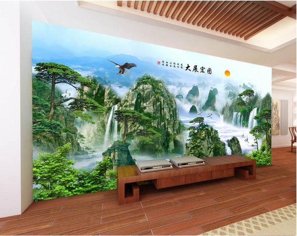 3d papel de parede personalizado foto águia asas de águia estilo chinês paisagem parede home decor 3d murais de parede papel de parede para paredes 3 d sala de estar