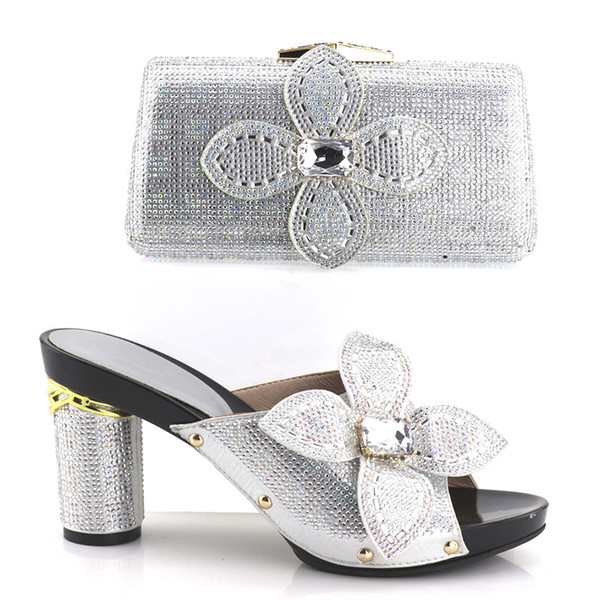 vivilace 2018 Silver African Shoes And Matching Bags With Beautiful Design And Many Rhinestones For African Party/Wedding Free Shipping