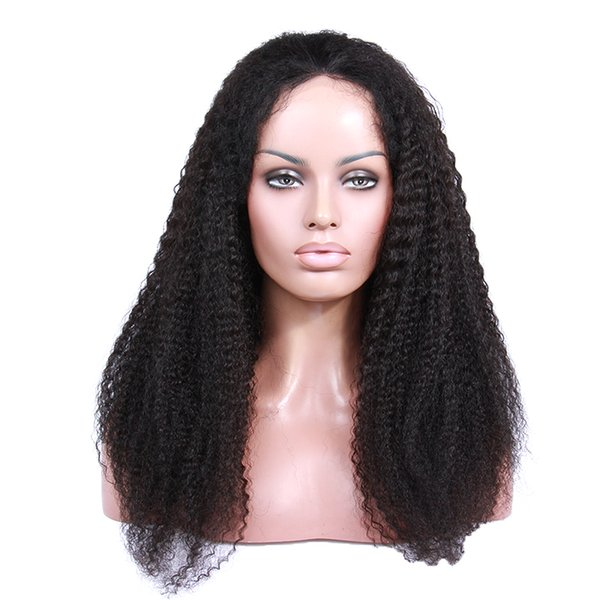 French lace unprocessed virgin remy human hair afro curly top natural color full lace wig for women