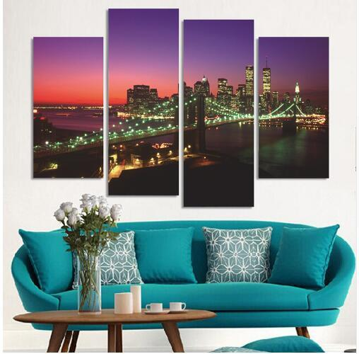 Free shipping 4 Piece Modern Wall Painting New York Bridge Night Home Decorative Art Picture Paint on Canvas Prints Cuadros Decoracion