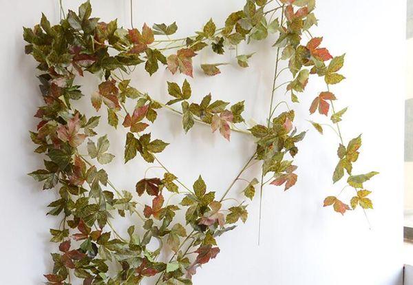 Feuille de vigne artificielle fleur de rotin feuilles d'érable bricolage 2m faux rotin mariage hôtel gazebo décoration de la maison fleur de soie vigne