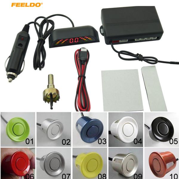 FEELDO 1 Conjunto Auto 4-Sensor Sensor de Estacionamento Sem Fio Invertendo Backup Radar Com LED Kit de Monitor de Dispaly # AM3283 carro