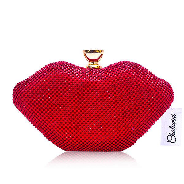 Labios rojos Cristal Sexy Mujeres Bolsos Rhinestones Metal Día Monedero Bolsas de viaje Diamantes Lujoso Punk Hombro Noche Bolso Clutch