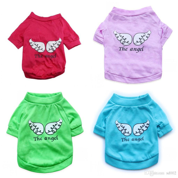 Universal Cotton Puppy Clothes Casual Soft Breathable Pet Clothing Vest Wing Letter The Angel Pattern Dog T Shirts Popular 5 7cyb4 BB