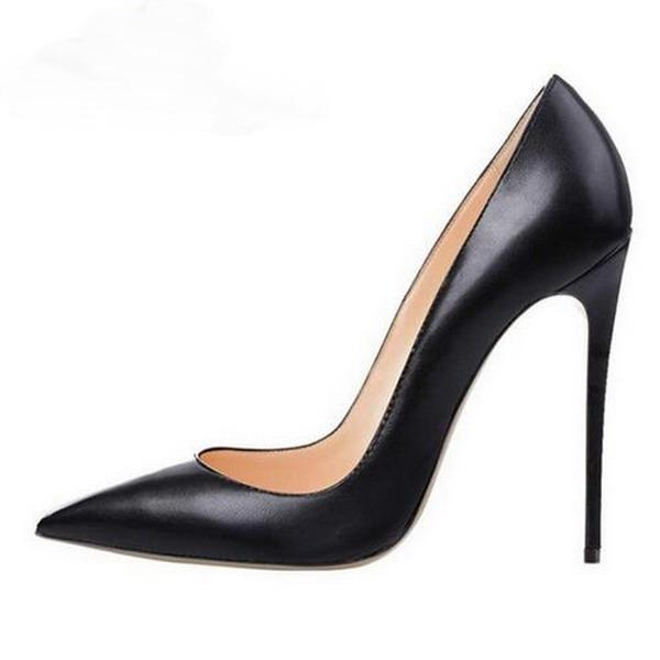 New Black Lady High Heels Exclusive Brand Shoes 10cm 12cm 8cm Female Black  Matte Leather High Heels Professional Shoes size 34-45 ea08bda9ccf1
