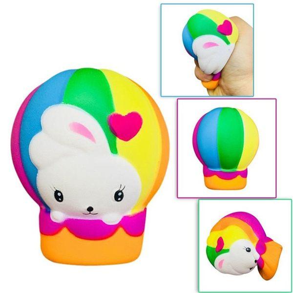 Regenbogen Ostern Kaninchen Heißluftballon Squishy Spielzeug Bunny Jumbo Simulation Brot Squeeze langsam steigende Kinder Kawaii Spielzeug Stressabbau