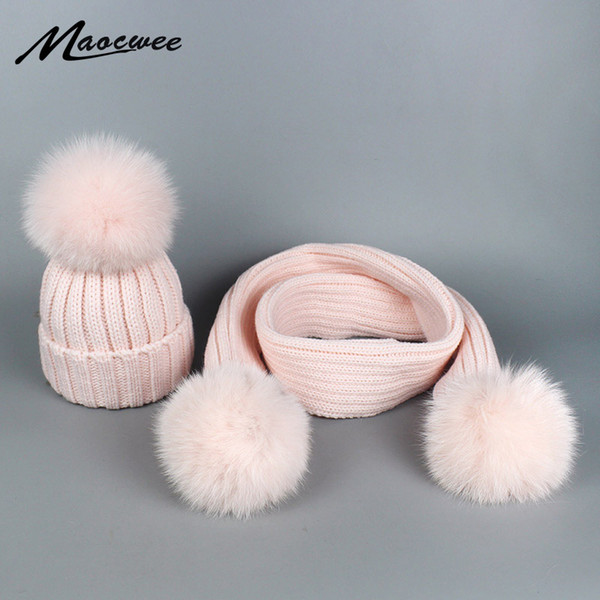 Winter Hat Scarf Set for Women Girls Warm Beanies Skullies Scarf Fox Pompoms Winter Hats Knitted Caps and Scarf 2 Pieces Set D18110102